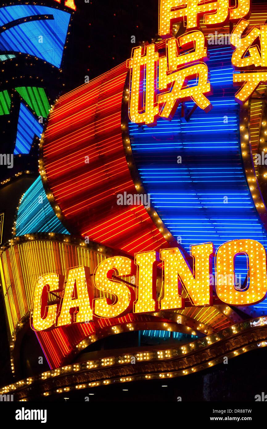 Casino insegne al neon, Macau, Cina Immagini Stock