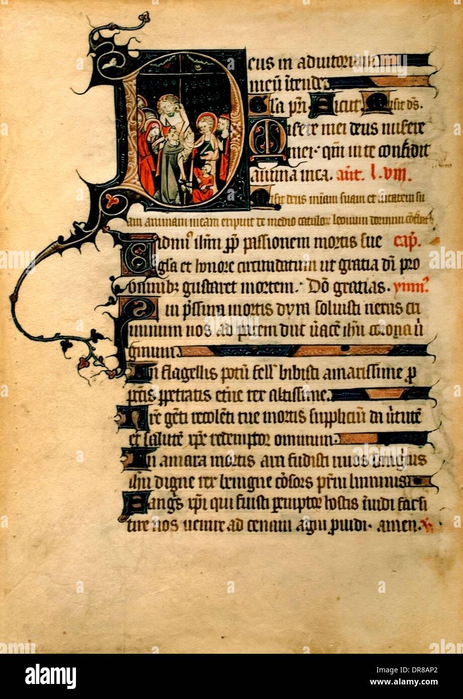 Foglie da un libro di ore di Reims Champagne 1310-1320, la discesa dalla Croce (Ore della Passione) Foto Stock