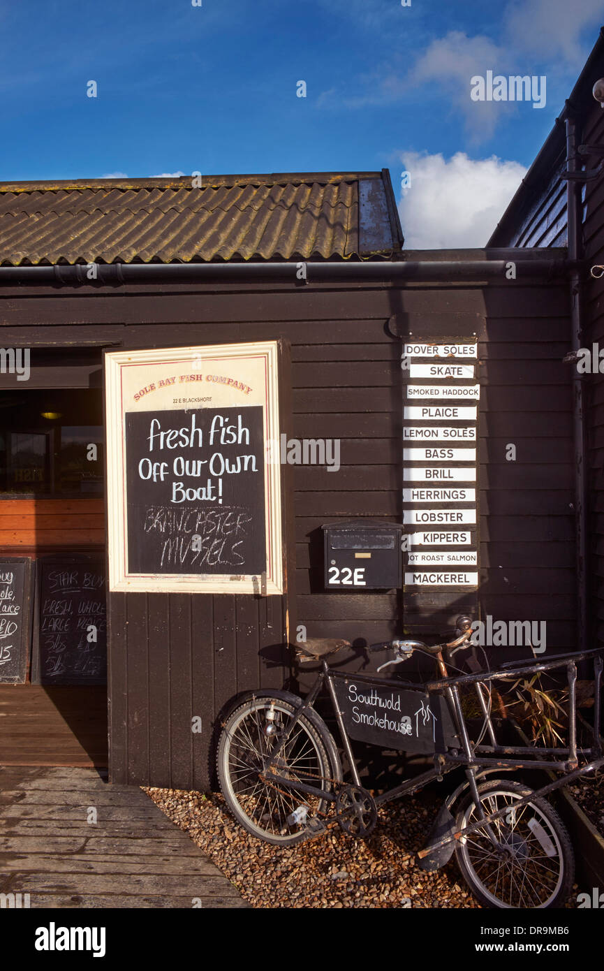Suola Bay Fish Company. Southwold Harbour, Suffolk, Inghilterra. Immagini Stock
