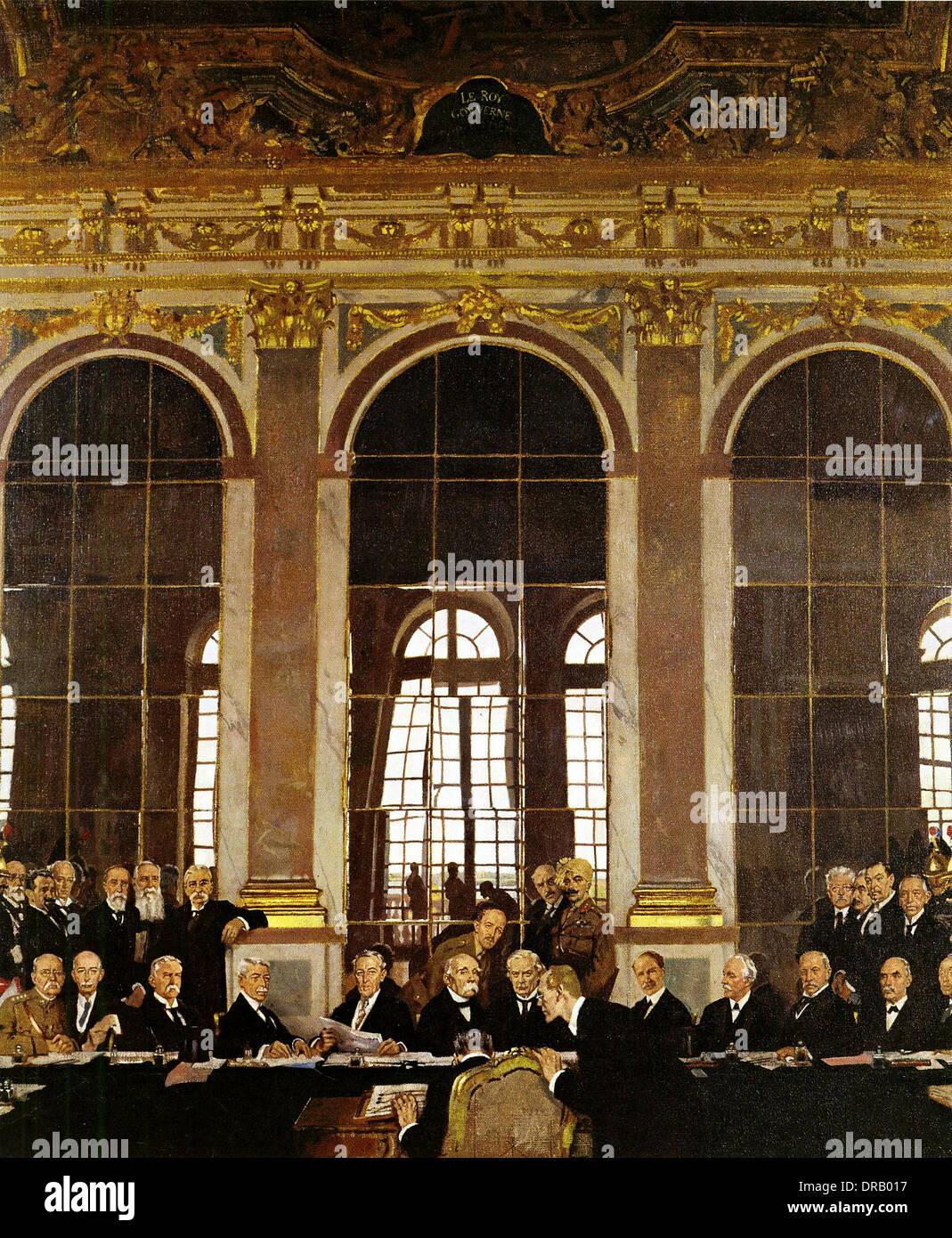 Trattato di Versailles, la firma del trattato di pace, dr. Johannes Bell firma il Trattato di Versailles nella Sala degli Specchi Immagini Stock