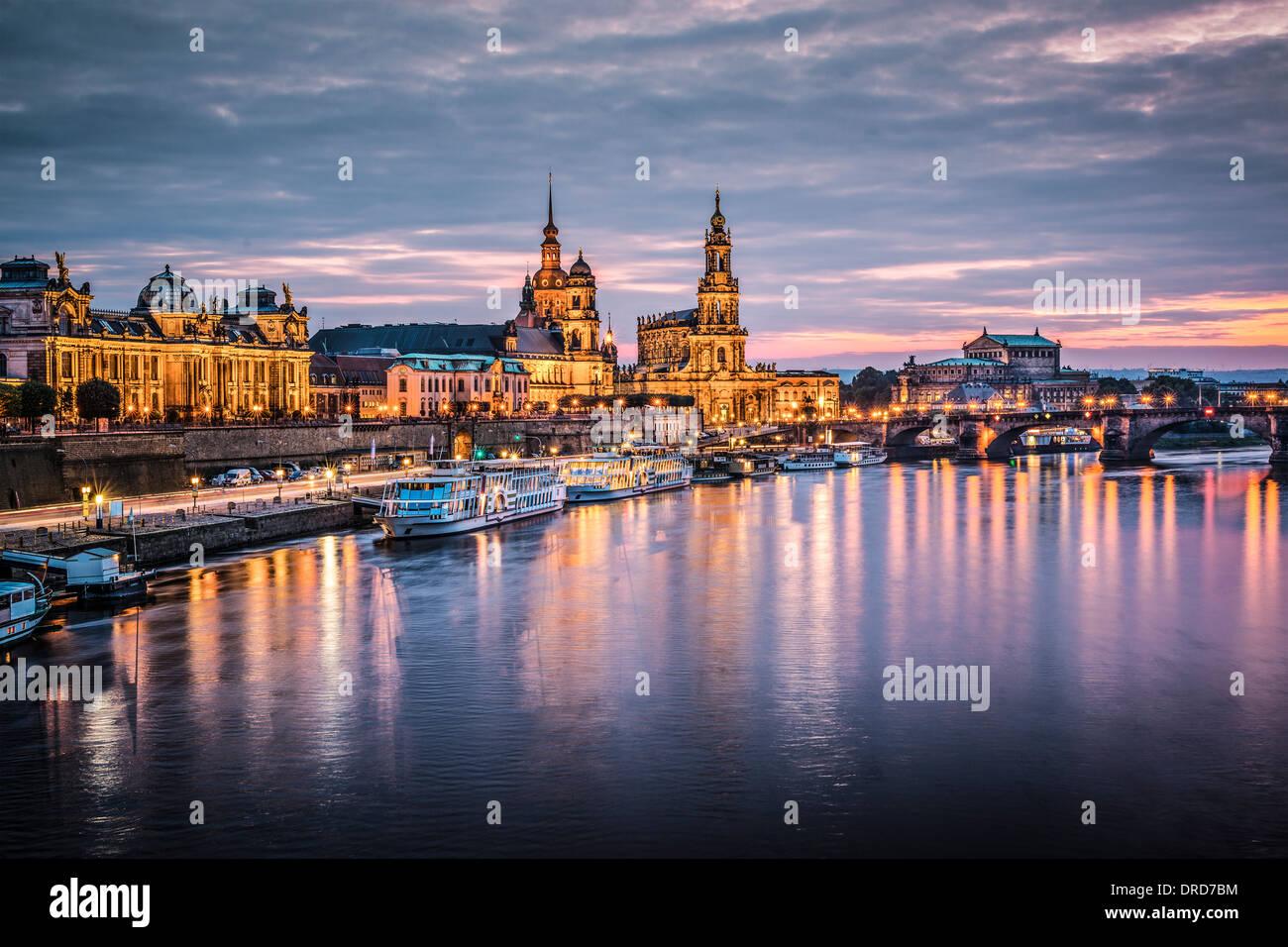 Dresden, Germania sopra il fiume Elba. Immagini Stock