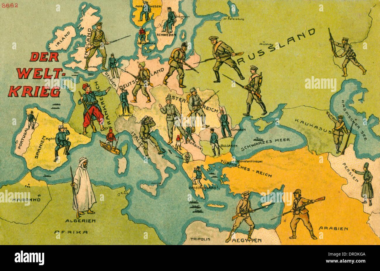 Cartina Geografica Prima Guerra Mondiale.La Prima Guerra Mondiale Combattenti Mappa Di Europa Foto Stock Alamy