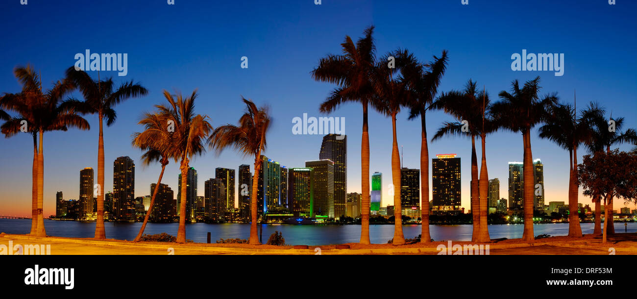 Miami Skyline finanziario, Florida, Stati Uniti d'America Immagini Stock