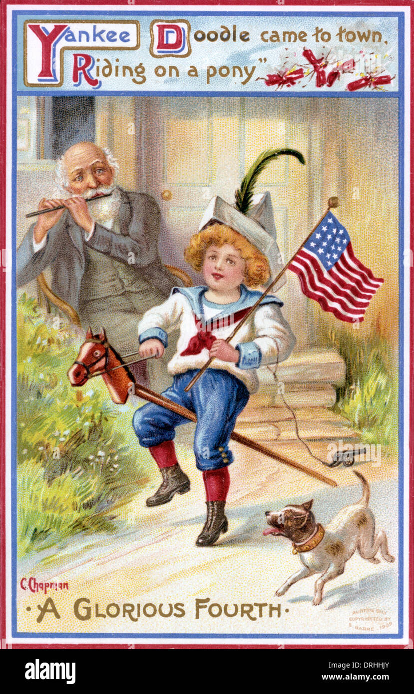 Yankee Doodle veniva in città, equitazione su pony. Immagini Stock