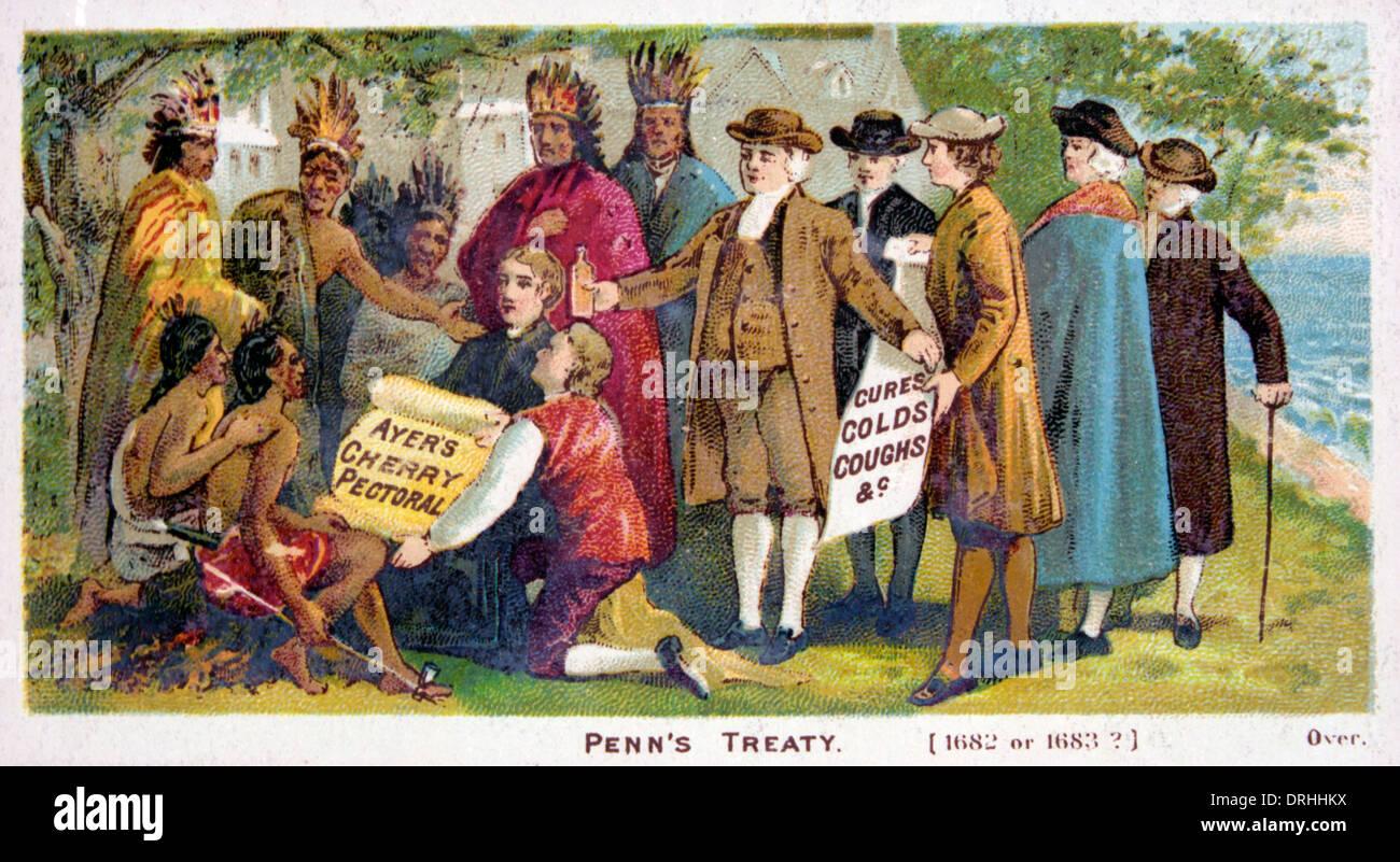 Penns trattato con gli indiani. Immagini Stock
