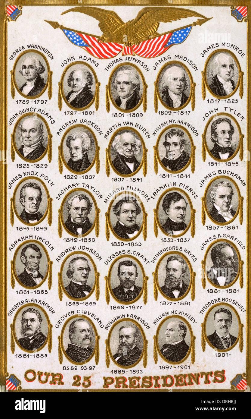 Il primo 25 Presidenti degli Stati Uniti Immagini Stock