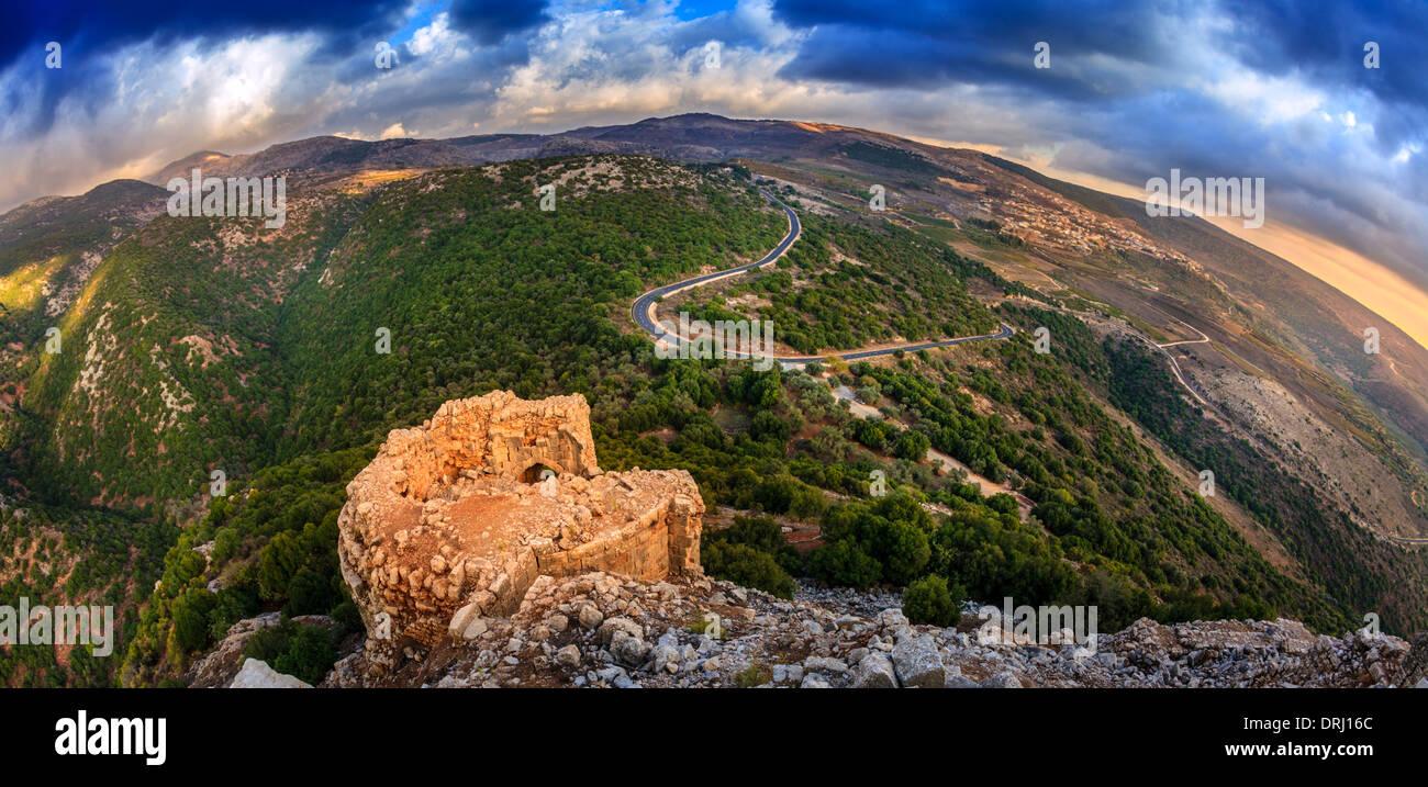 Vista del nord del Golan dal Castello Nimrod, Israele Immagini Stock