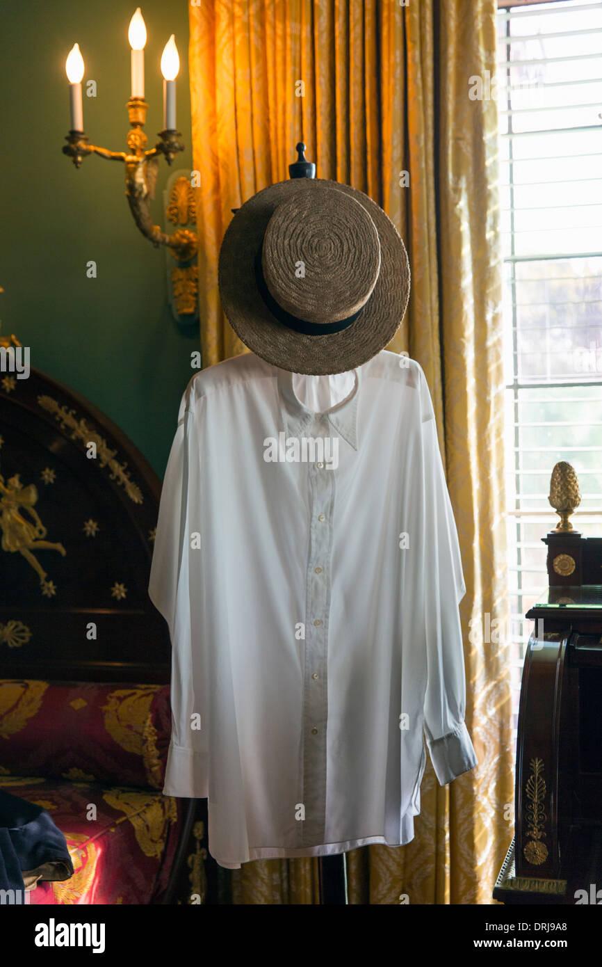 Stati Uniti d'America,Florida,Sarasota, John e Mable Ringling Museum of Art,Ca d'Zan,una camicia bianca e cappello di paglia Immagini Stock