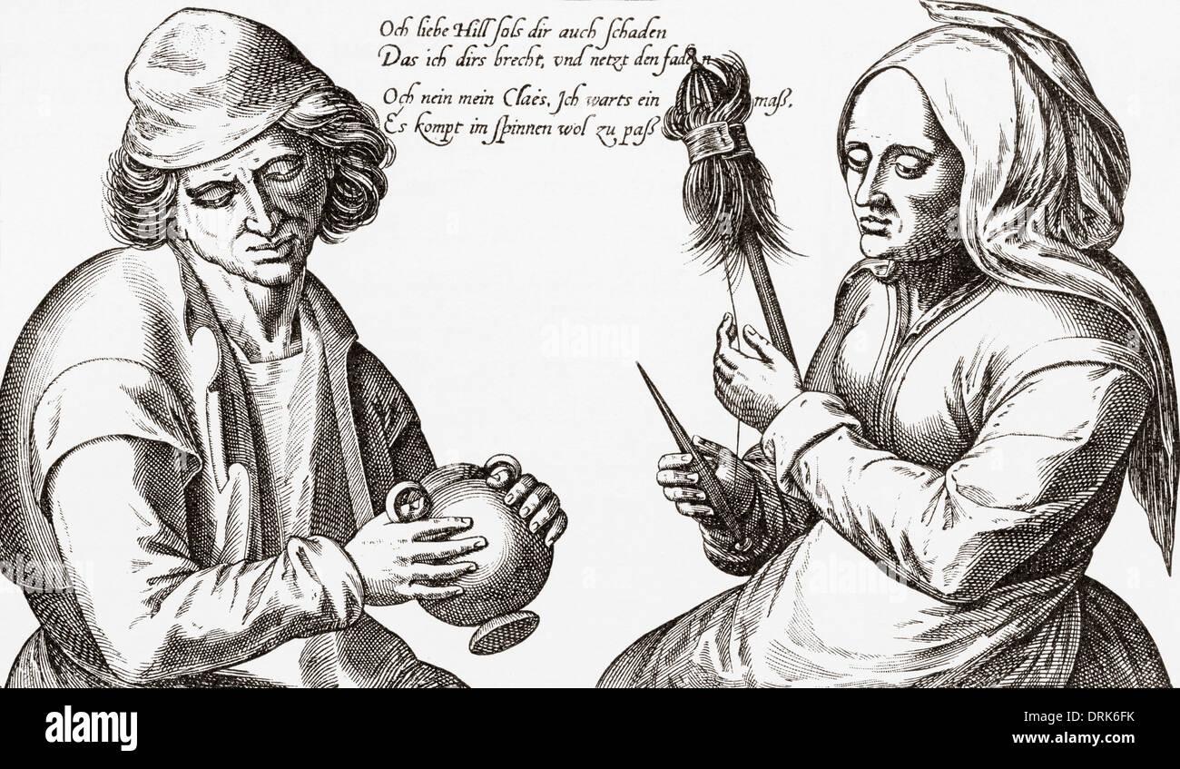 Nella camera di filatura. Una scena dal Medioevo. Immagini Stock