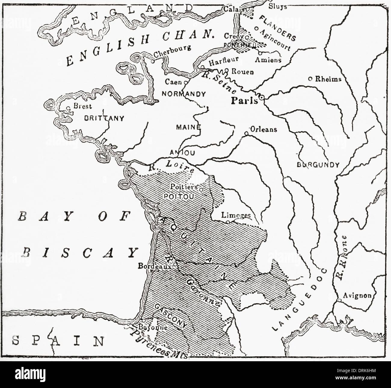 Mappa che mostra le signorie inglese in Francia al momento del Trattato di Brétigny, 1360. Immagini Stock