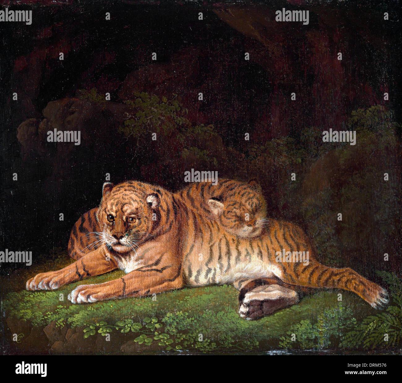 Charles Towne, tigri. 1800. Olio su pannello. Yale Center per British Art di New Haven, Stati Uniti d'America. Immagini Stock