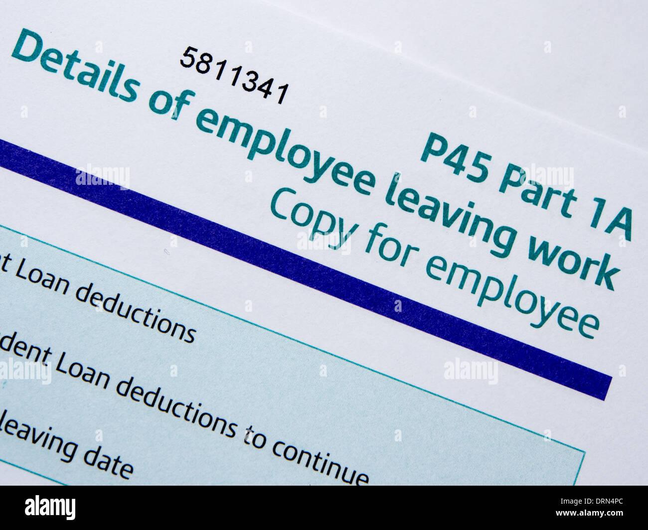 Close up di un HM Revenue e CustomsP45 forma Immagini Stock
