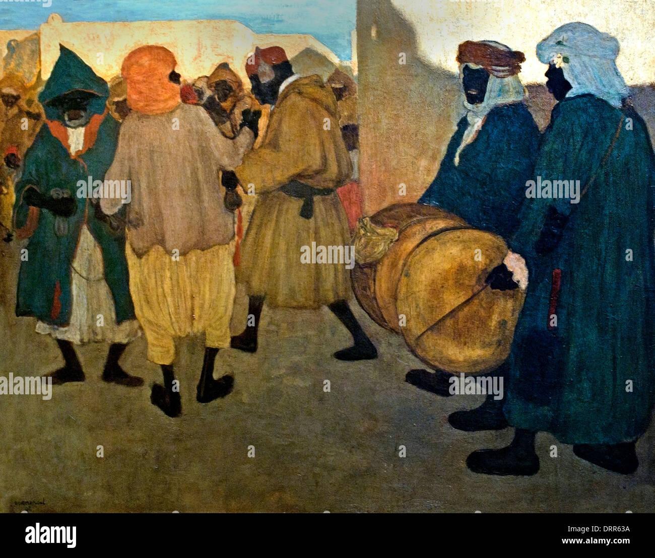Annuncio del Festival negro Blida Algeria Henri Evenepoel (1872-1899) Blidah 1898 Belgio belga Immagini Stock