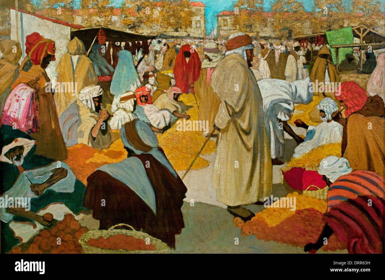Henri Evenepoel (1872-1899) Mercato arancione a Blidah 1898 Mercato arabo Algeria belga fiamminga del Belgio Immagini Stock