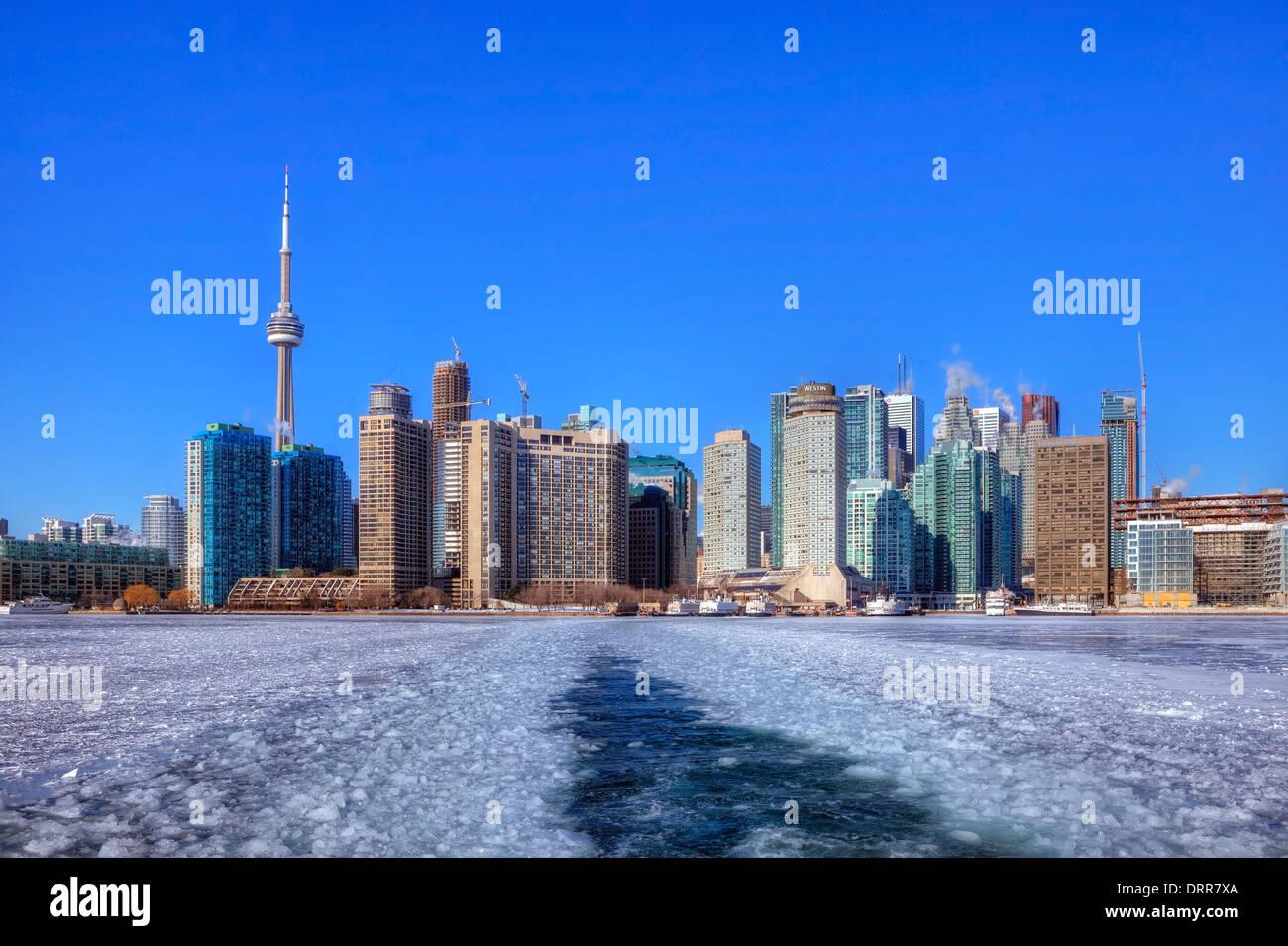 Skyline di Toronto, Ontario, Canada, inverno Immagini Stock