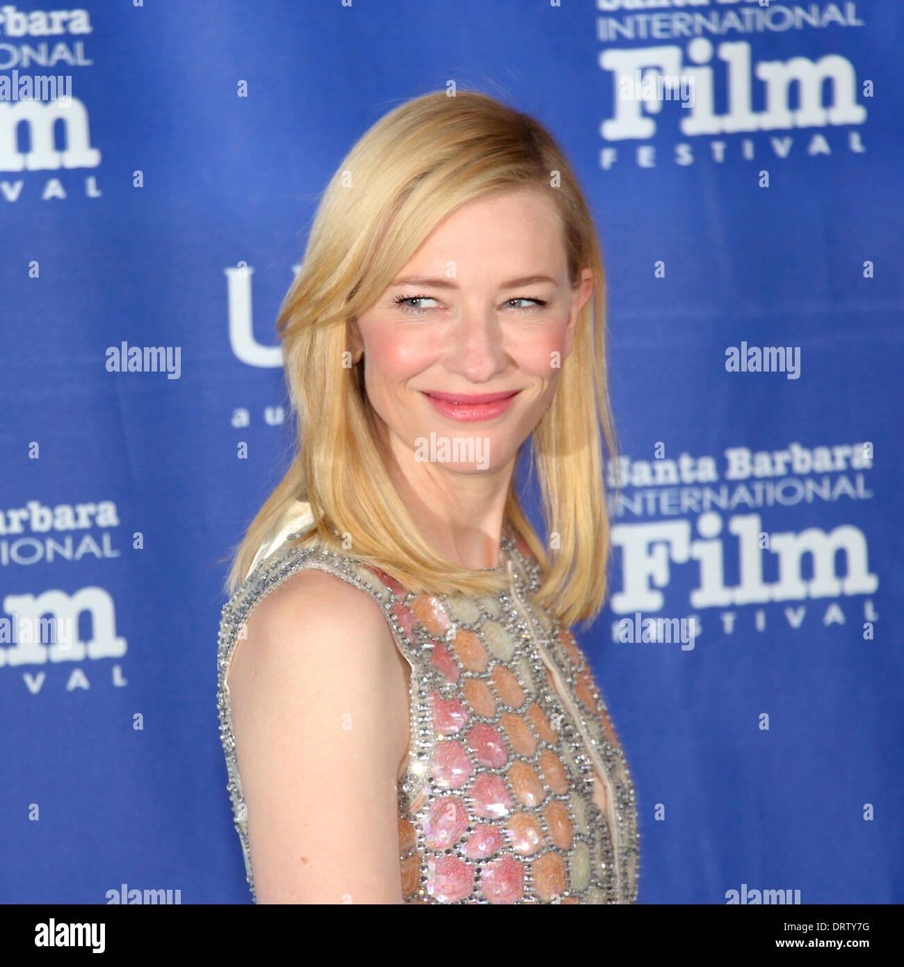 Il 1° febbraio 2014 la Santa Barbara International Film Festival presenta attrice Cate Blanchett con il outstanding performer of the Year Award per il suo ruolo in Woody Allen film più recente Gelsomino blu. Abito da Maison Martin Margiela Immagini Stock