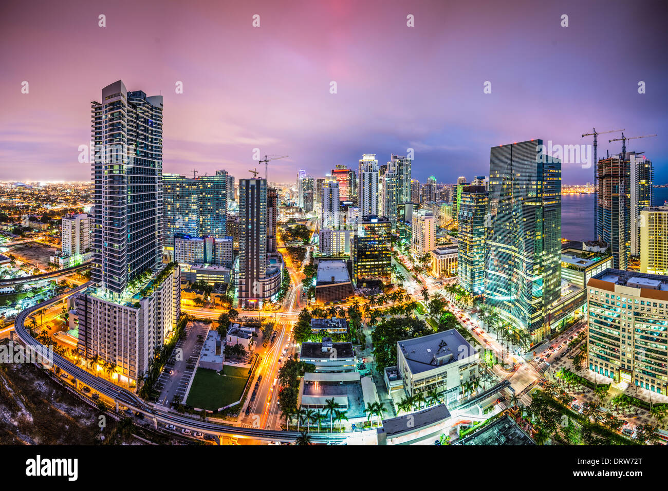 Miami, Florida vista aerea del centro cittadino. Immagini Stock