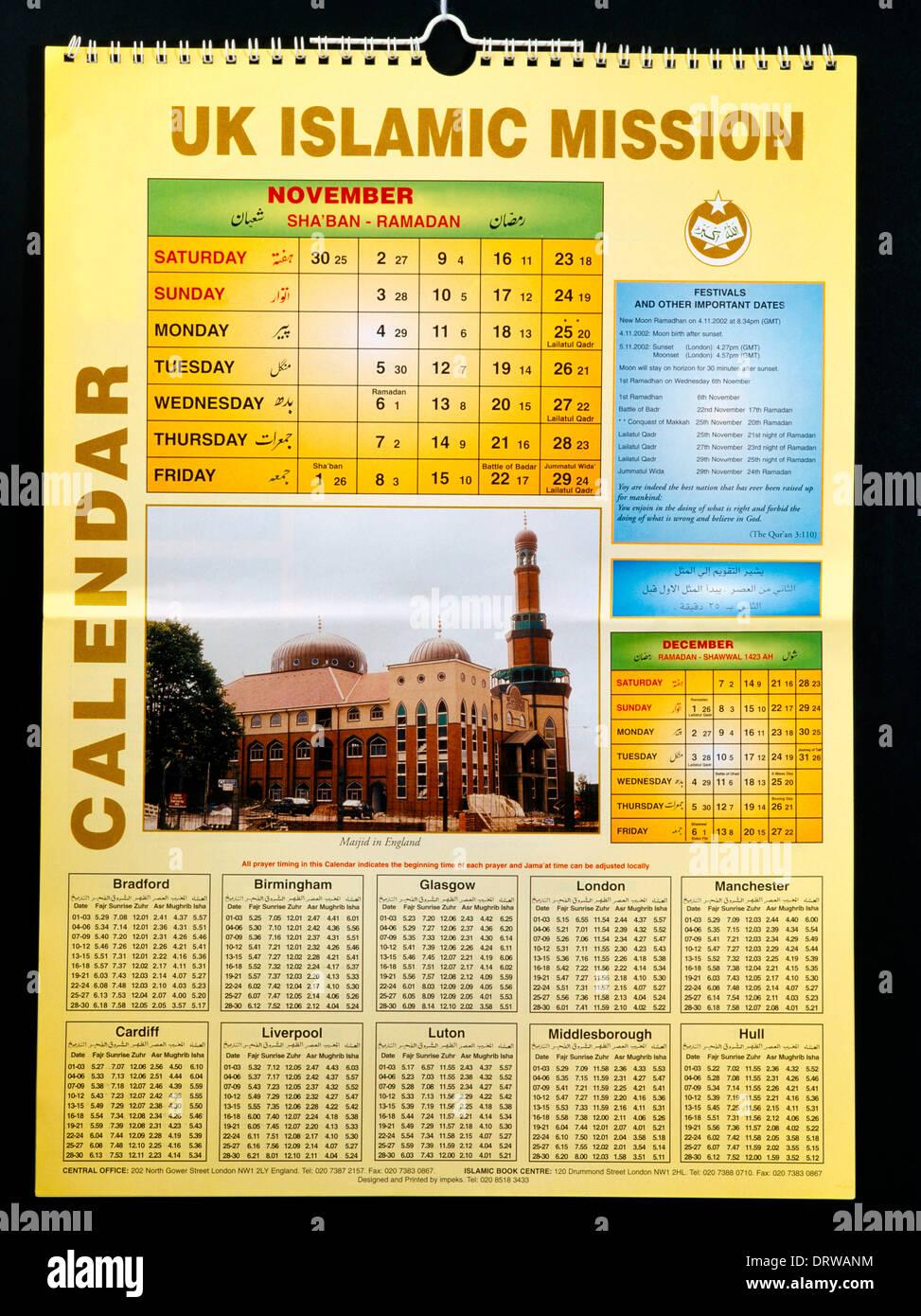Il Calendario Islamico.Calendario Islamico 2002 Foto Immagine Stock 66325440 Alamy