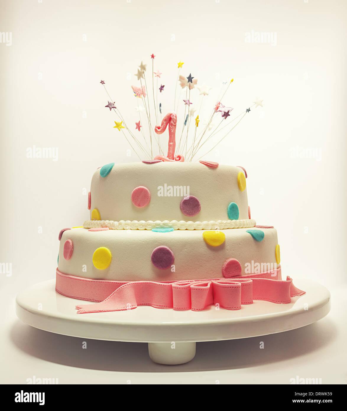 Torta Per Il Primo Compleanno Numero Uno A Base Di Zucchero Sulla