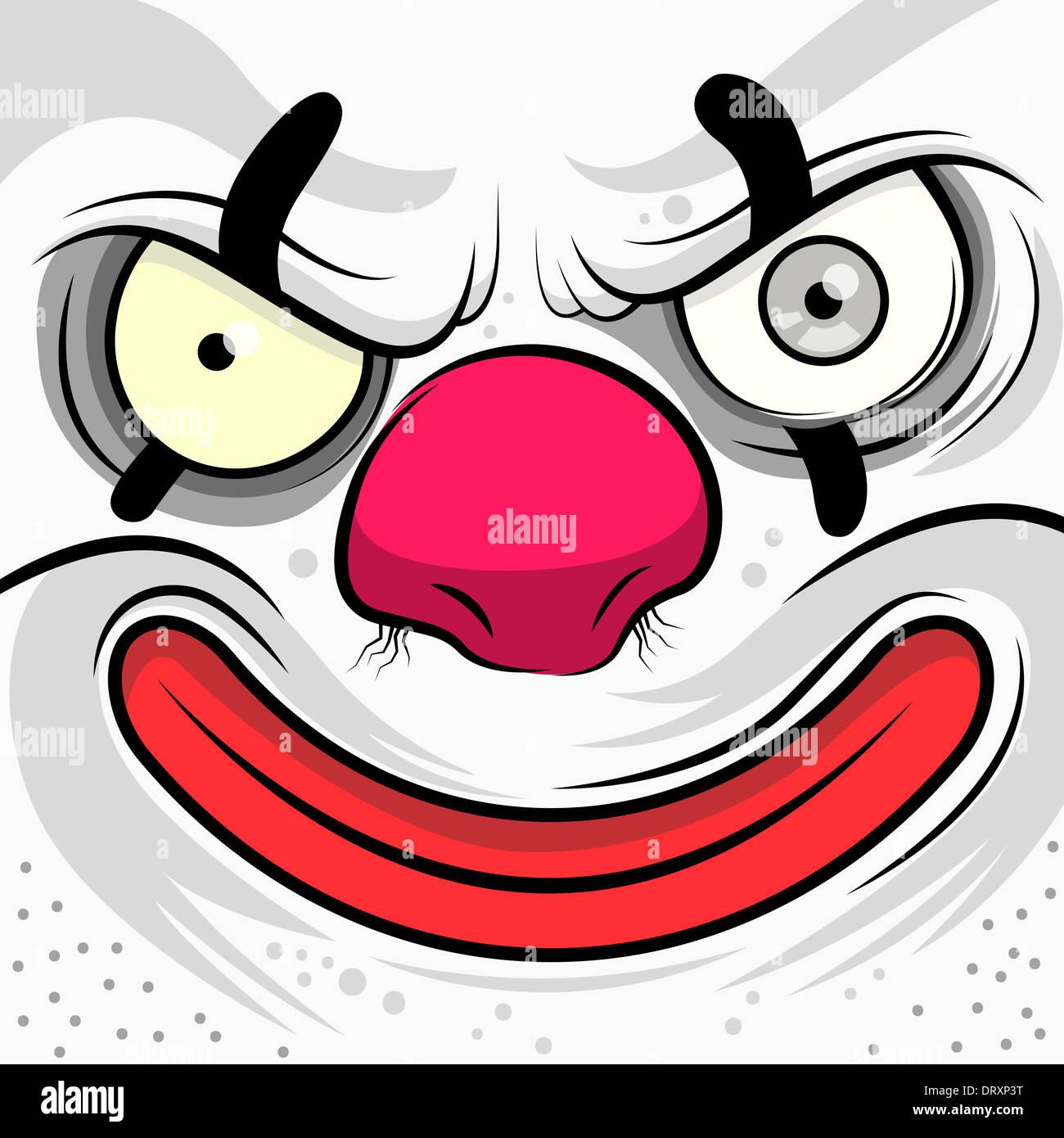Piazza su cui si affaccia il male Clown - illustrazione vettoriale Immagini Stock