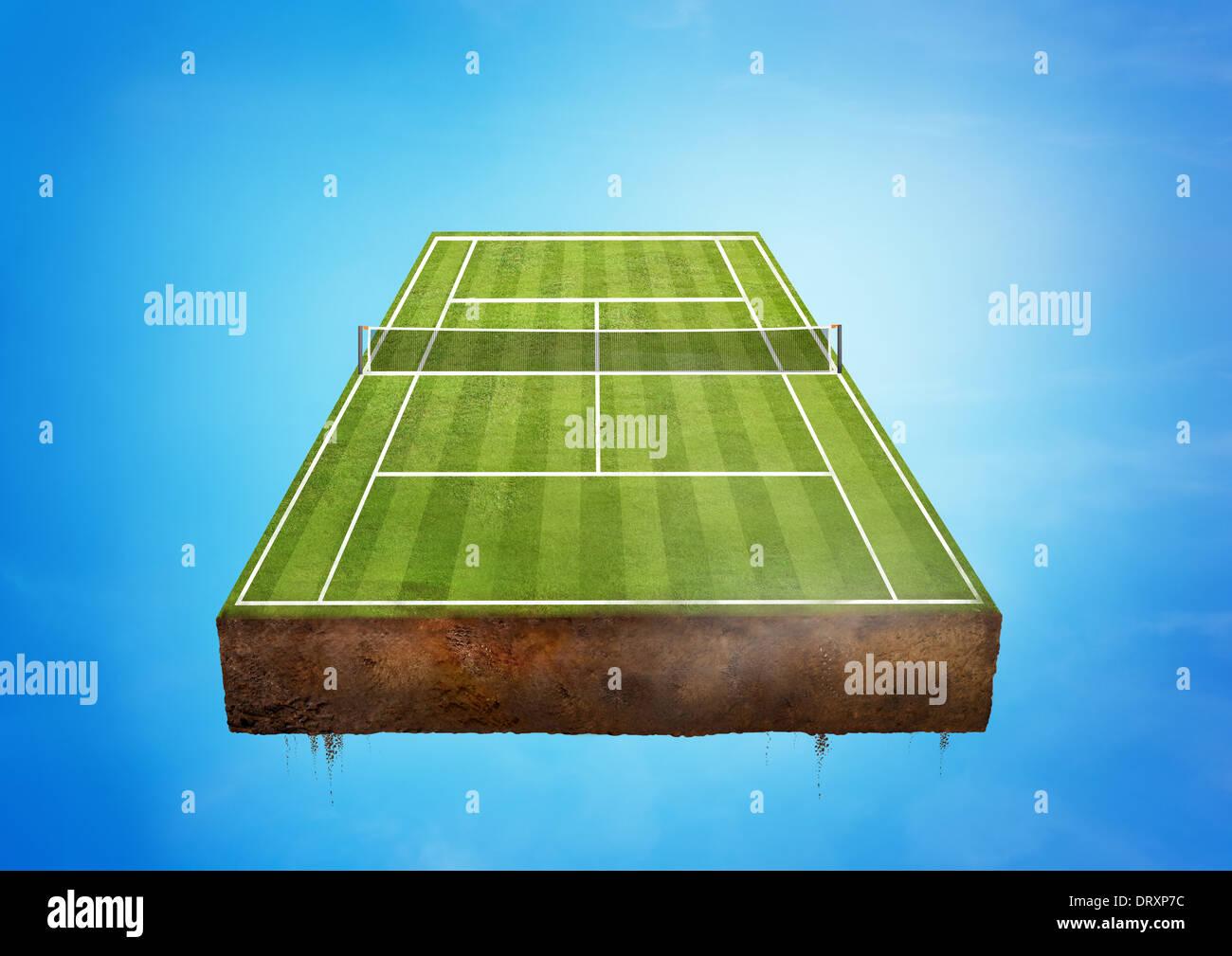 Un green galleggiante Campo da tennis. Il concetto di sport. Immagini Stock