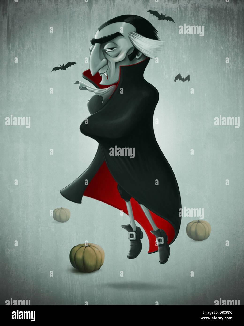 Vampire e zucche di Halloween creepy notte Immagini Stock