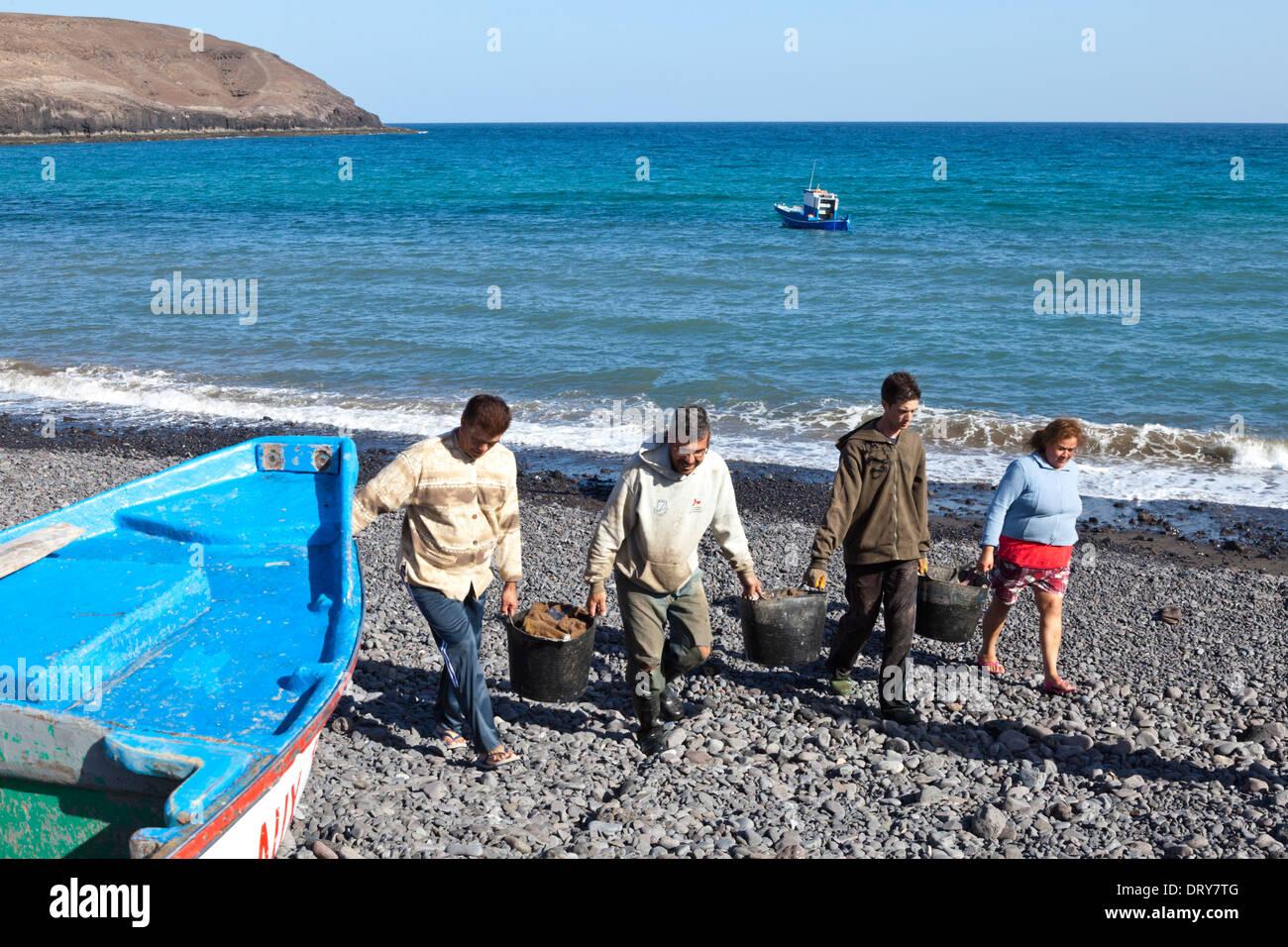 I pescatori che sbarcano le loro catture di pesce presso il villaggio sul mare di Pozo Negro, Fuerteventura, Isole Canarie, Spagna Immagini Stock