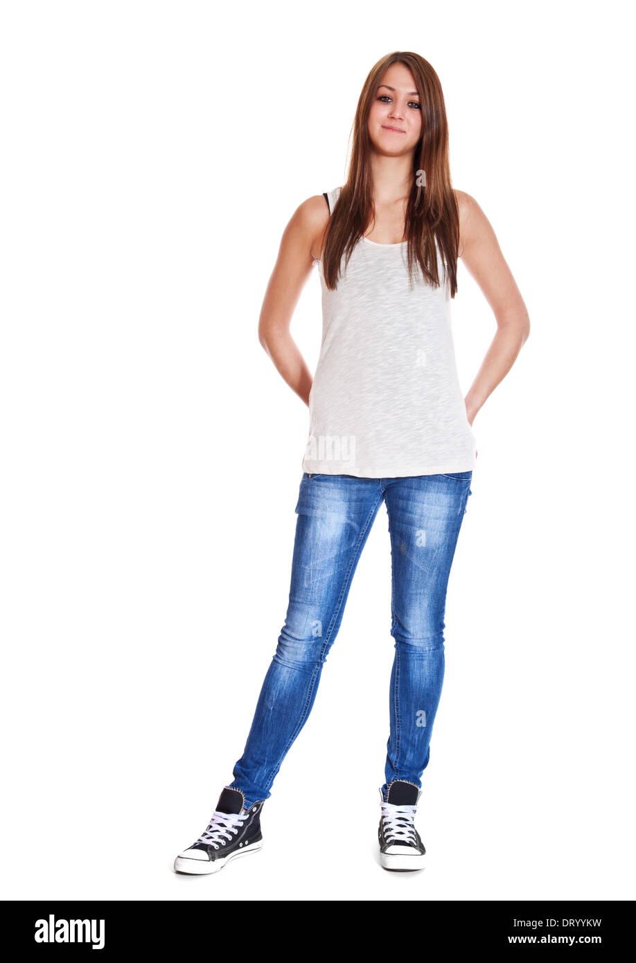 A piena lunghezza shot di un attraente giovane donna. Tutto su sfondo bianco. Immagini Stock