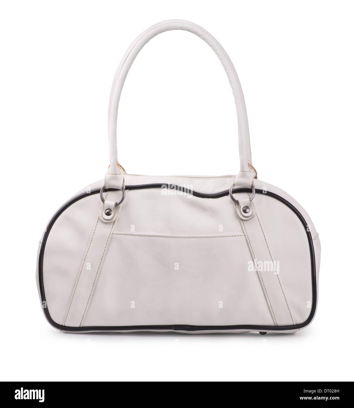 In pelle bianca borsa sportiva isolata su bianco Foto