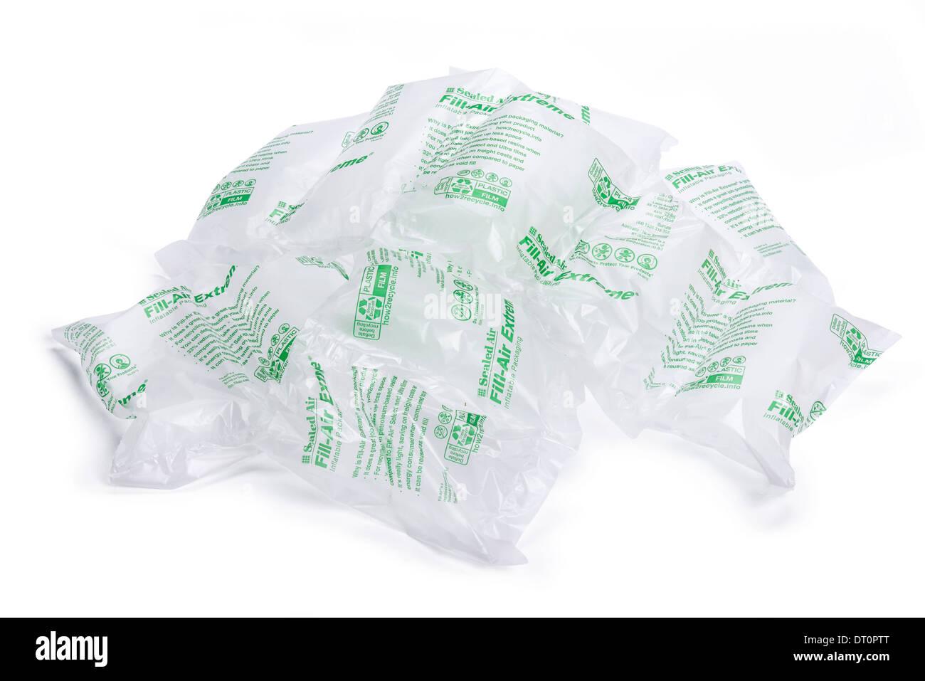 Sacchetto pieno di aria sealed air gonfiabile di materiale di imballaggio Immagini Stock