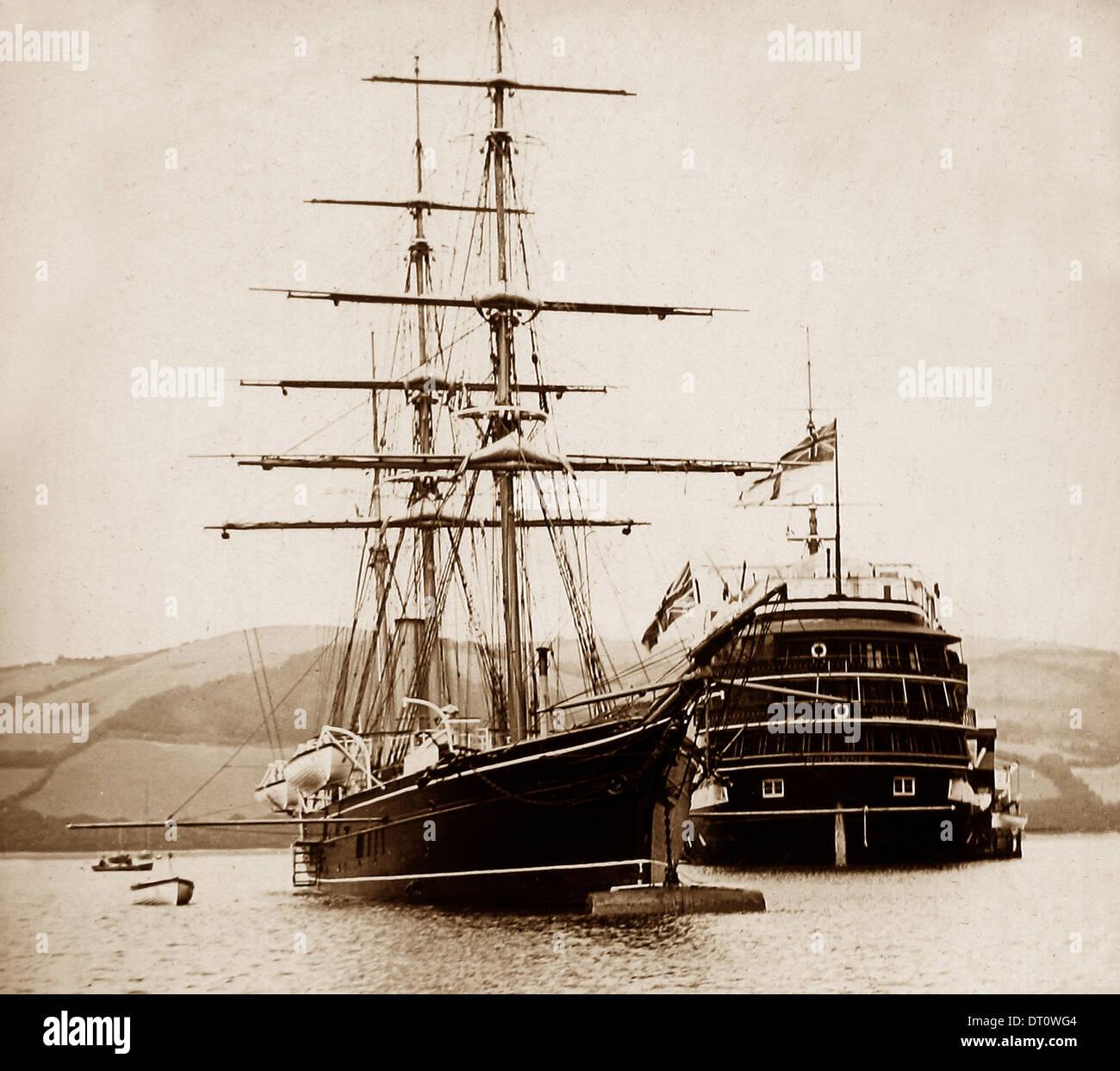HMS Britannia formazione nave periodo Vittoriano Immagini Stock