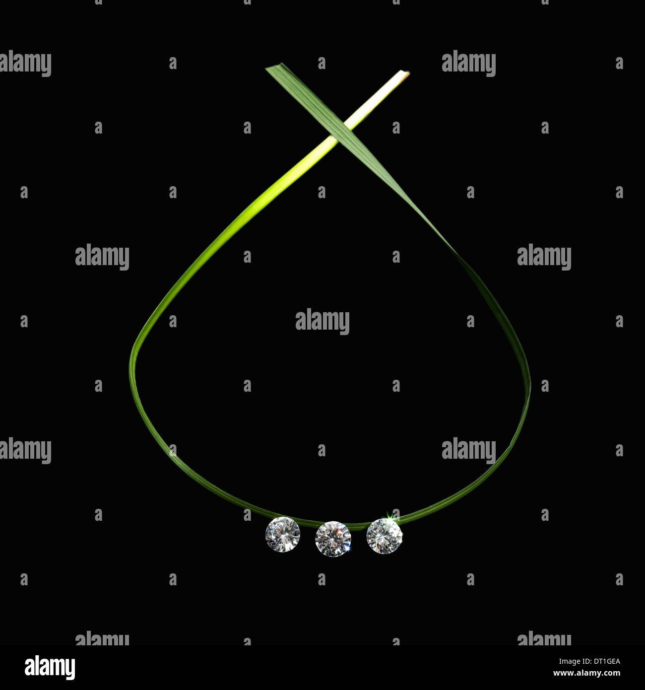 Decorazioni a foglia verde cosa e piatto in un ciclo con tre piccoli gem tagliare le perline di vetro riflettente la luce Immagini Stock