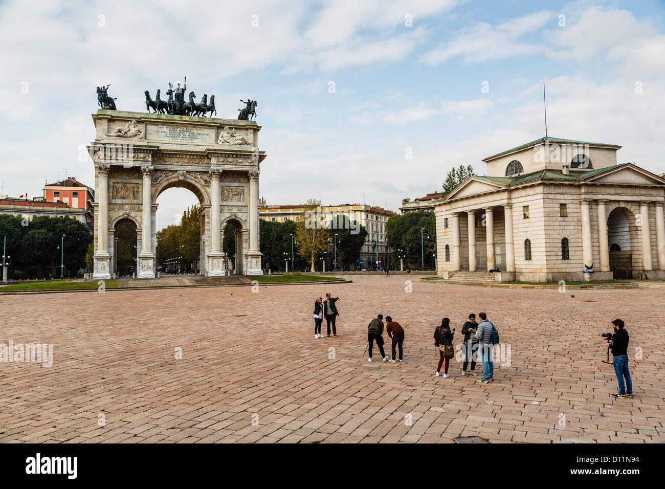 Arco della Pace (Arco della Pace), Parco Sempione Milano, Lombardia, Italia, Europa Immagini Stock