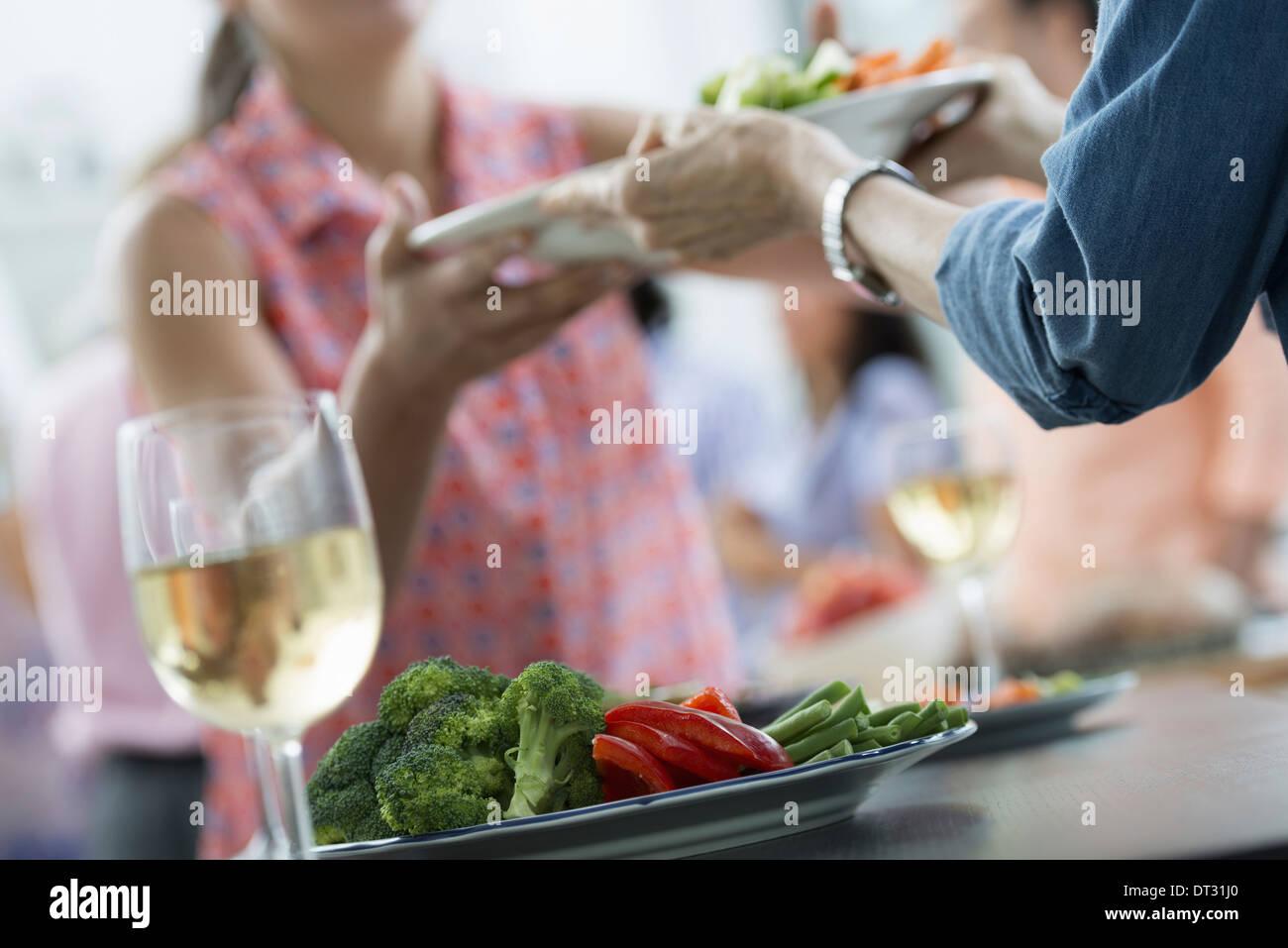 Un partito picnic di famiglia di adulti e bambini Immagini Stock