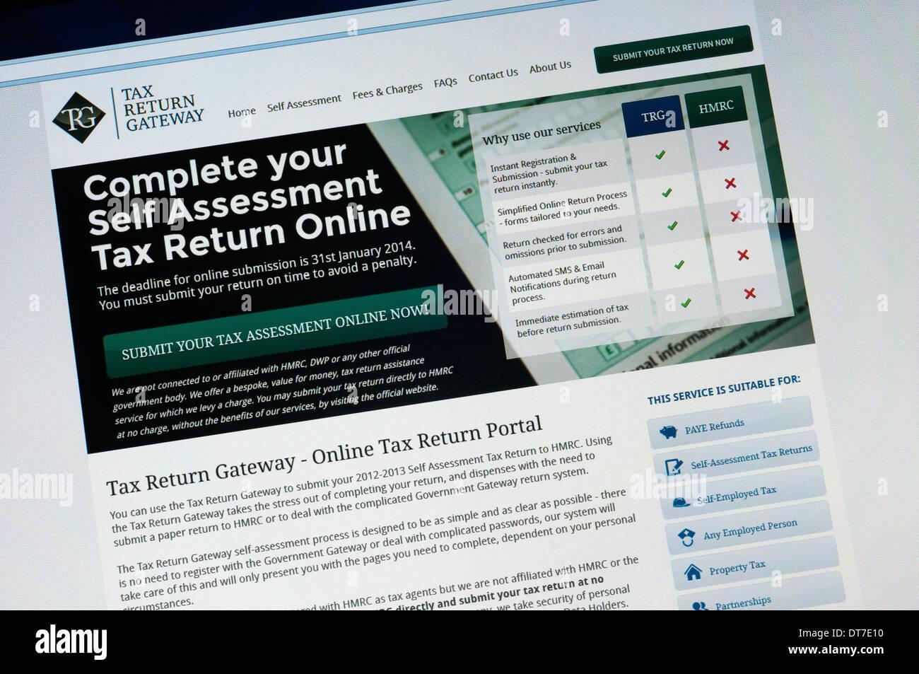Home page di ritorno fiscale Gateway web site - non un governo ufficiale sito. Foto Stock