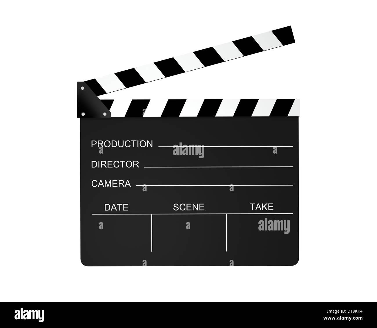 Film slate isolato su uno sfondo bianco. Immagini Stock