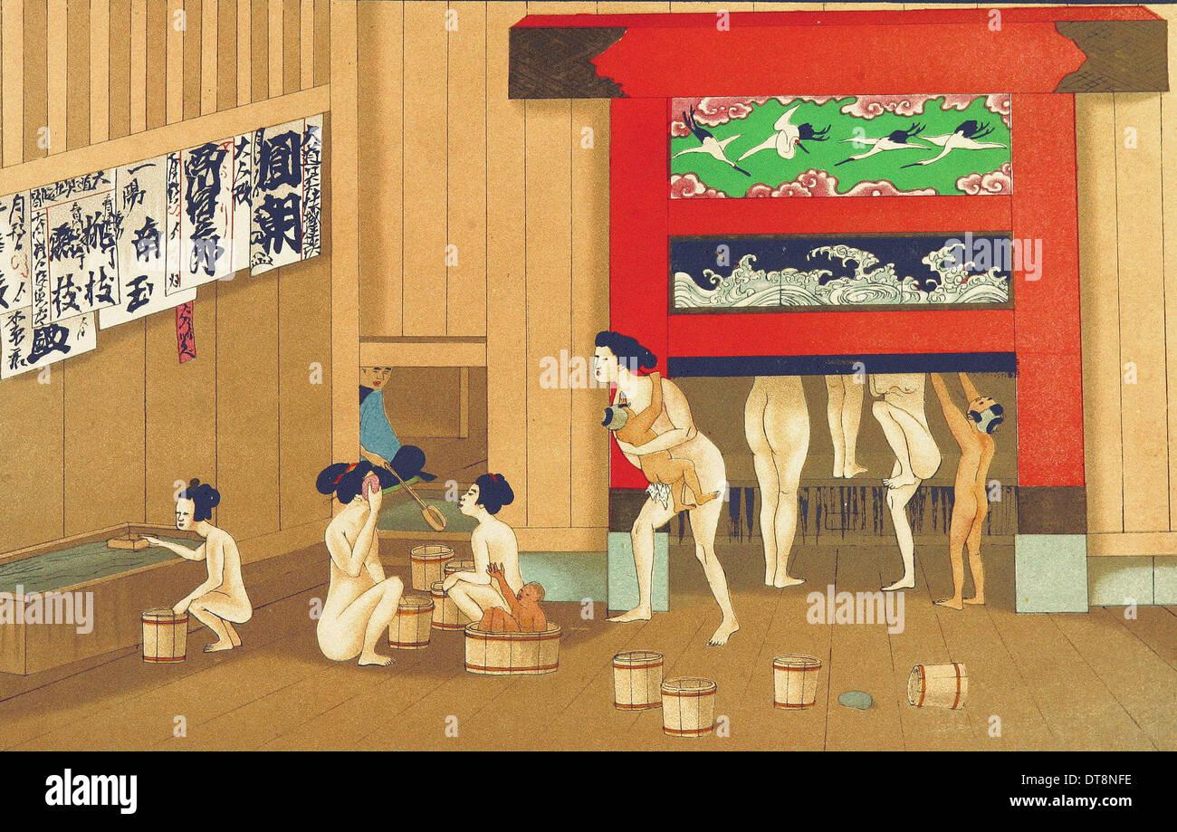 Uya o Bath House - Chromo-Lithography originali dalla pittura giapponese XIX secolo Immagini Stock