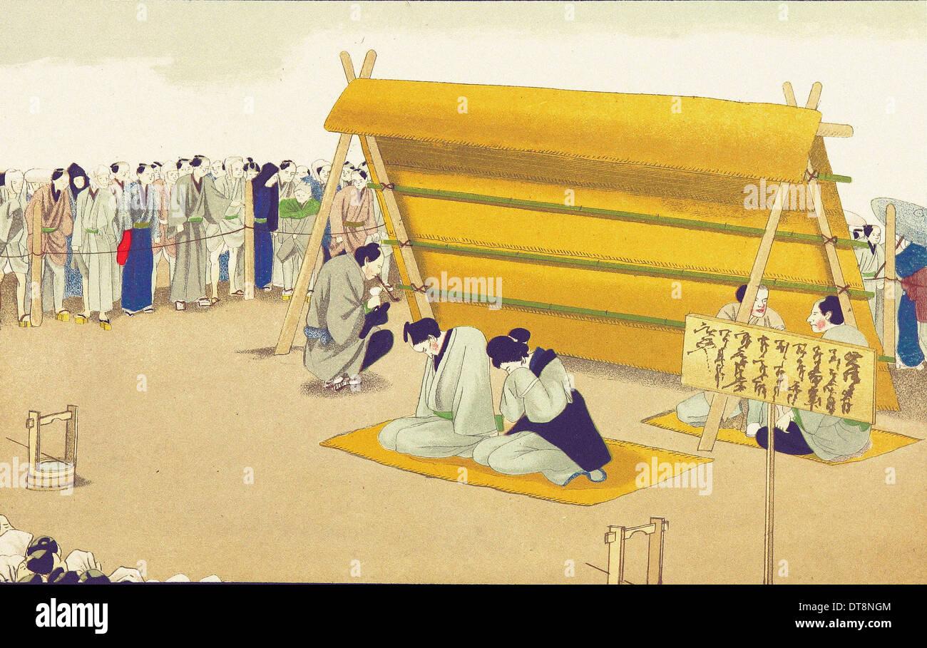 Esposizione per infedeltà - Chromo-Lithography originali dalla pittura giapponese XIX secolo Immagini Stock