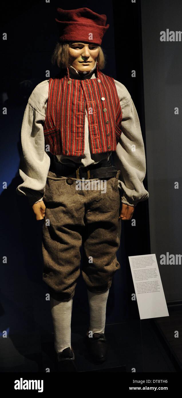 Ginocchio calzoncini apparteneva al maschio costumi folk nel XVIII secolo. Immagini Stock