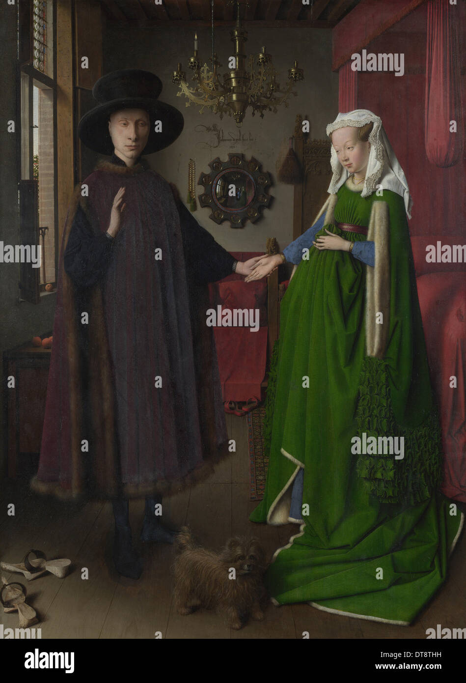Il Ritratto di Arnolfini, 1434. Artista: Eyck, Jan van (1390-1441) Immagini Stock