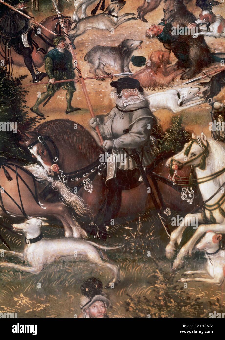 """Lucas Cranach """" Il Sambuco"""" (1479-1553). Caccia in onore di Carlo V presso il castello di Torgau, 1544. Olio su pannello. Dettaglio. Immagini Stock"""
