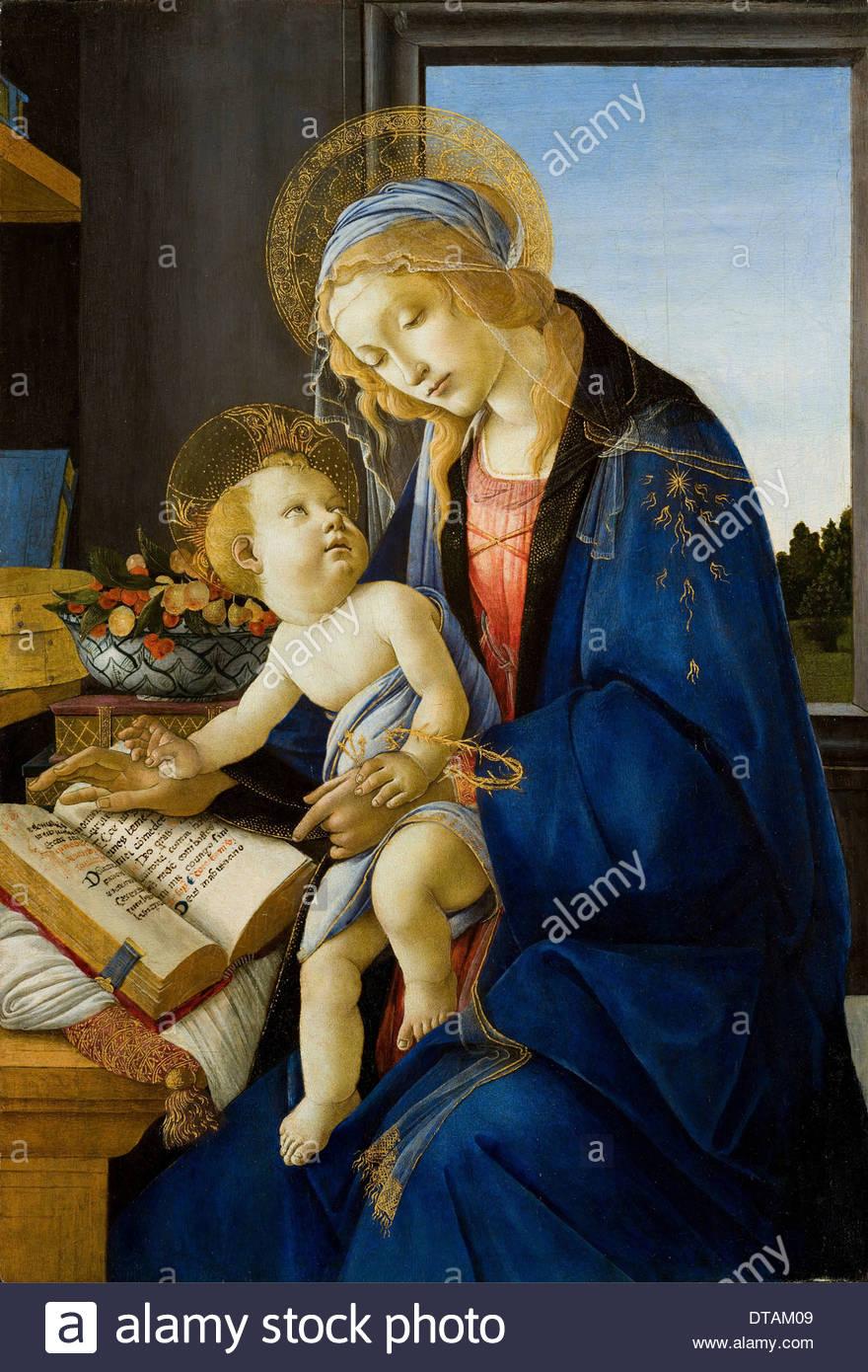 Madonna del libro (Madonna del libro), 1480. Artista: Botticelli, Sandro (1445-1510) Immagini Stock
