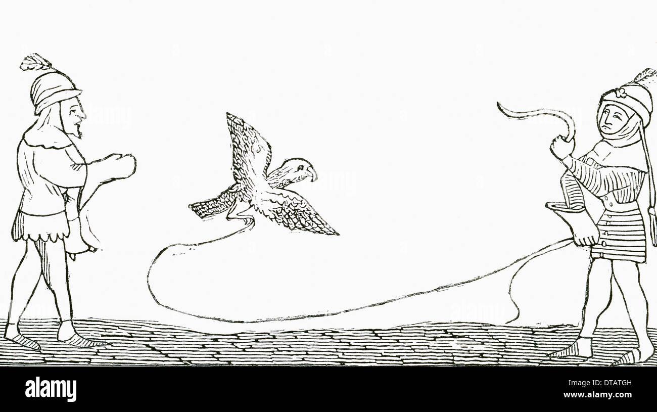 La Falconeria nel medioevo. Immagini Stock