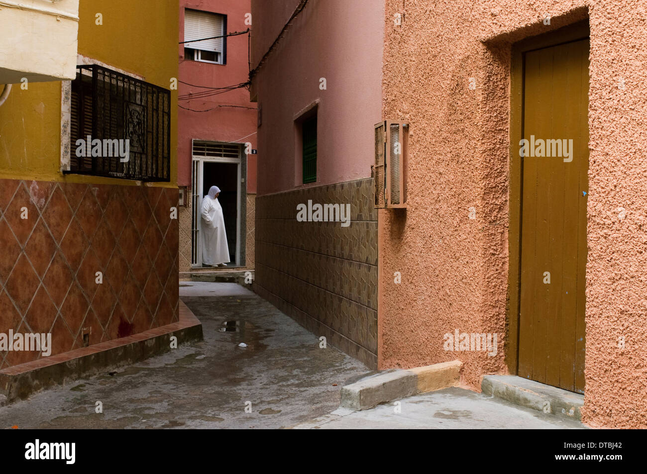 Quartiere islamico del Canada del Hidum a Melilla, Spagna. la povertà povero sobborgo di disoccupati Immagini Stock