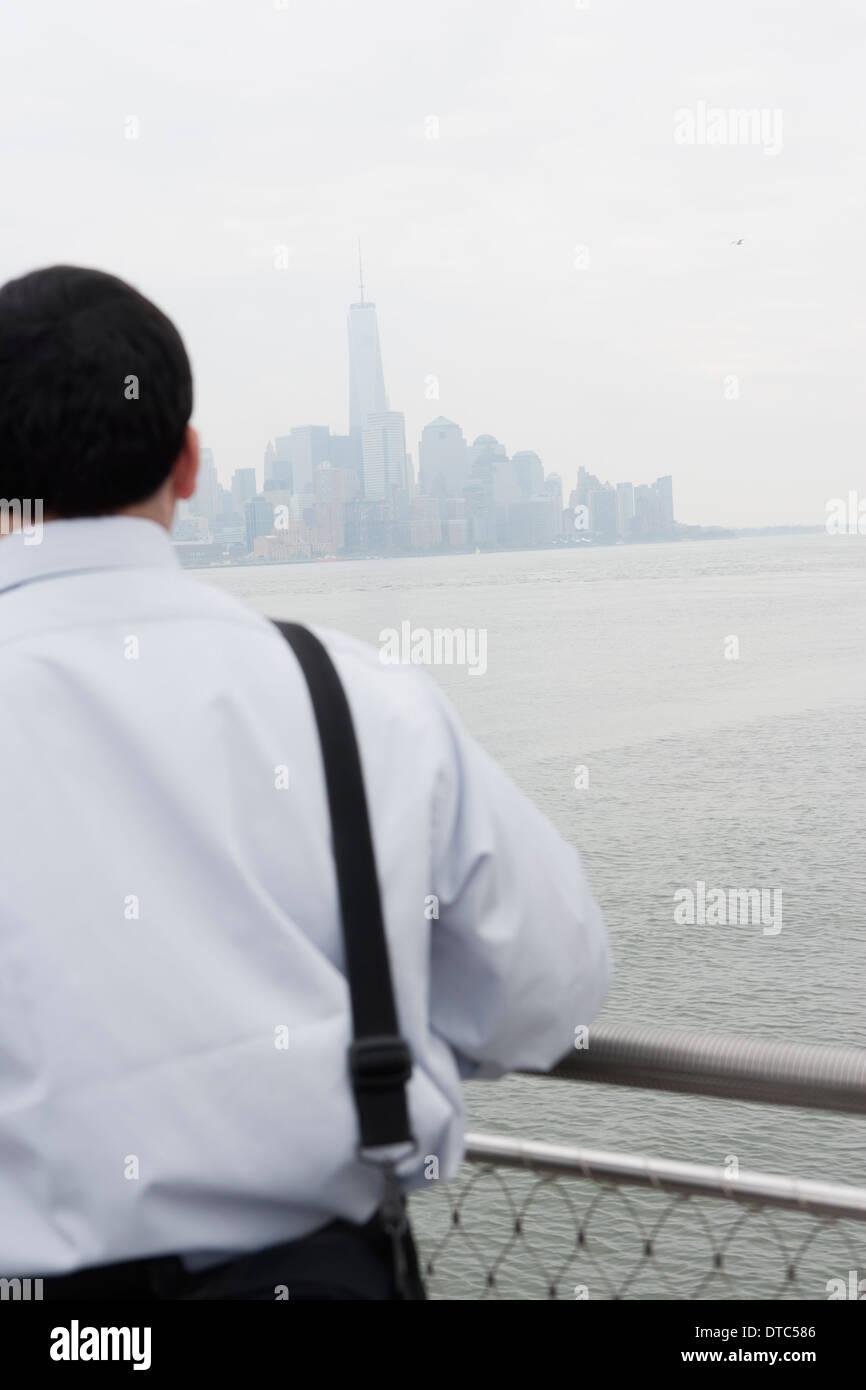 Specchietto di imprenditore, Hoboken, New Jersey, STATI UNITI D'AMERICA Immagini Stock