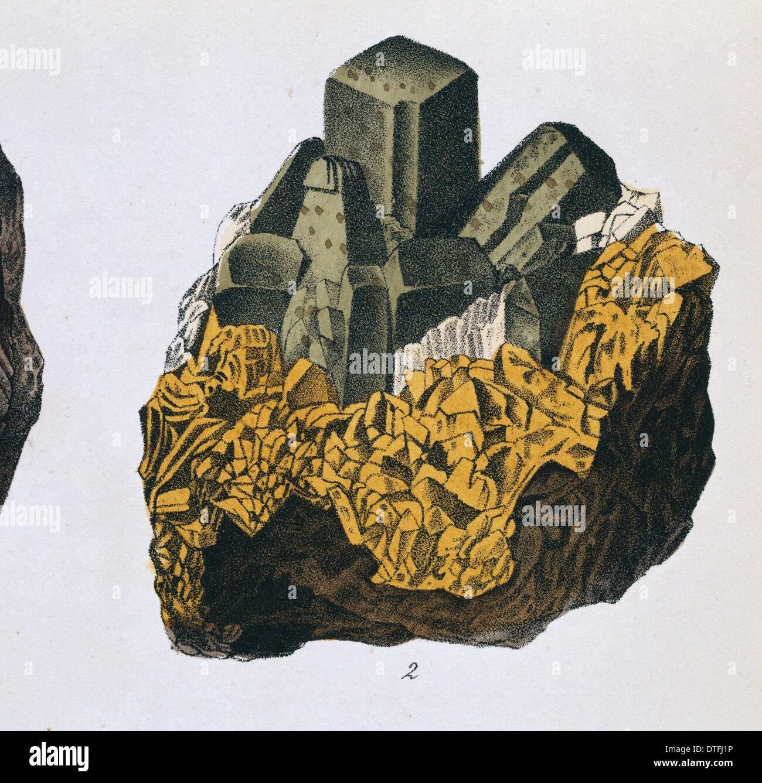 La piastra 10, fig 2 da Mineralienbuch Immagini Stock