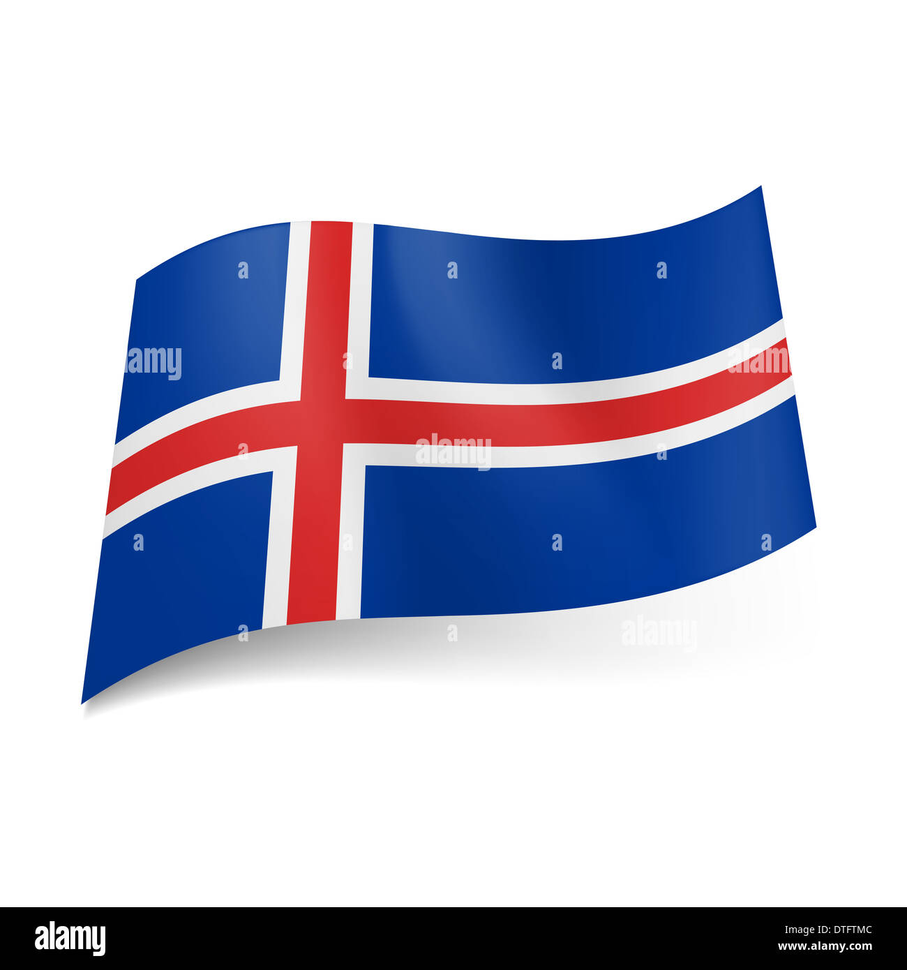 Bandiera Nazionale Di Islanda Bianco Bordato Croce Rossa Su Sfondo