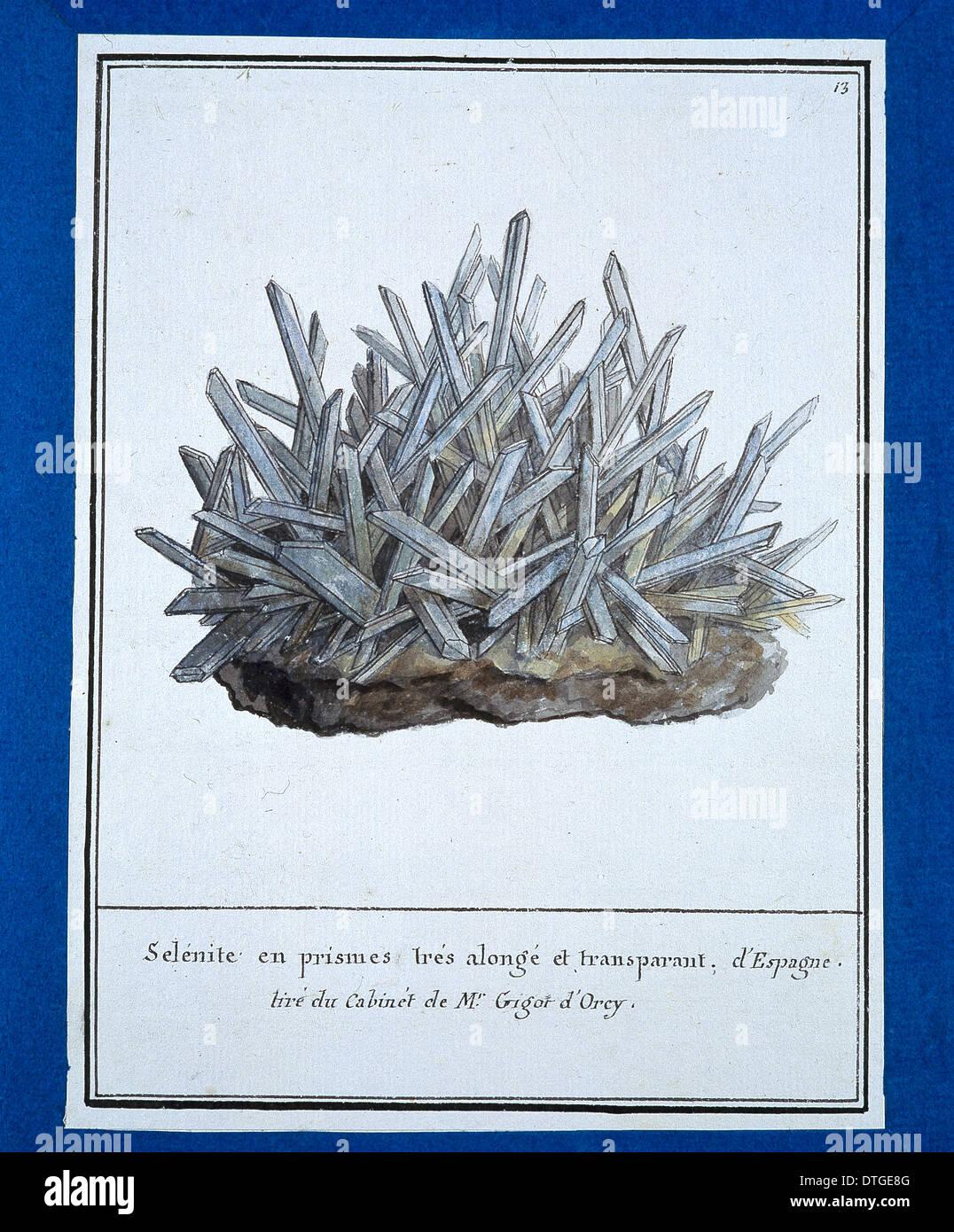 Piastra 13 dal volume Mineralogie 1 (1790) da Swebach Desfontaines Immagini Stock