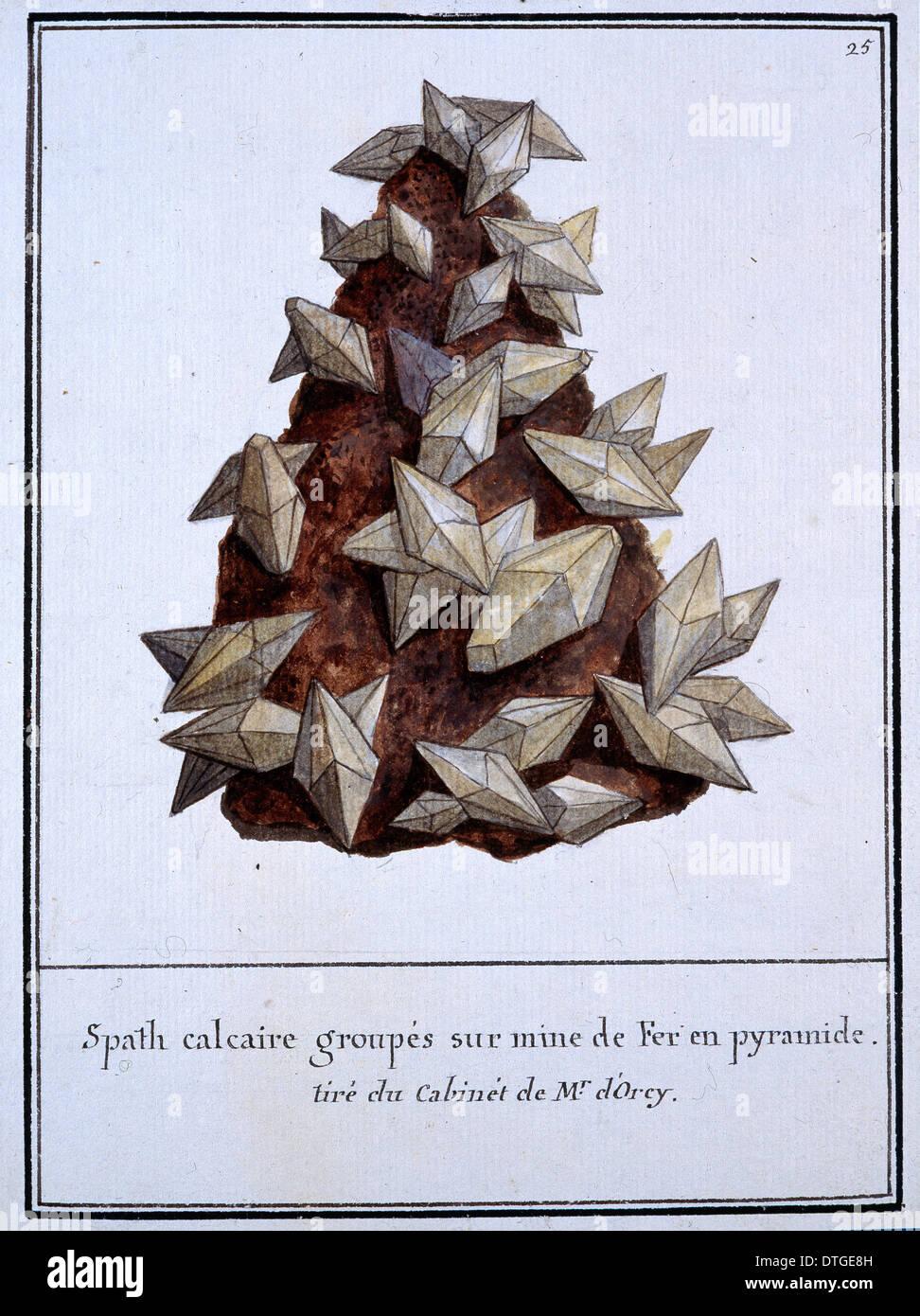 Piastra 25 dal volume Mineralogie 1 (1790) da Swebach Desfontaines Immagini Stock