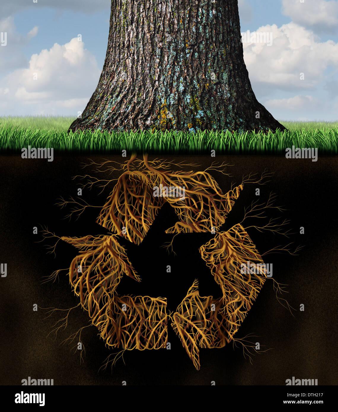 Albero Simbolo Di Riciclaggio Concetto Come Radici Sotterranee A